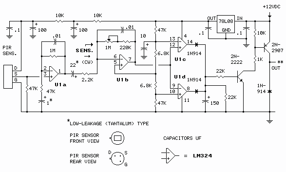 Pir motion sensor circuit schematics on security sensor wiring diagram